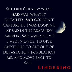 She didn_t know what sad was, what it entailed. Sad couldn_t capture it. I was looking at sad in the rearview mirror. Sad was a city I lived in once. I_d give anything to get out o